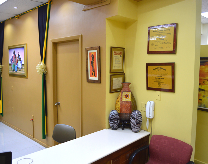 Exclusive dental care reception area